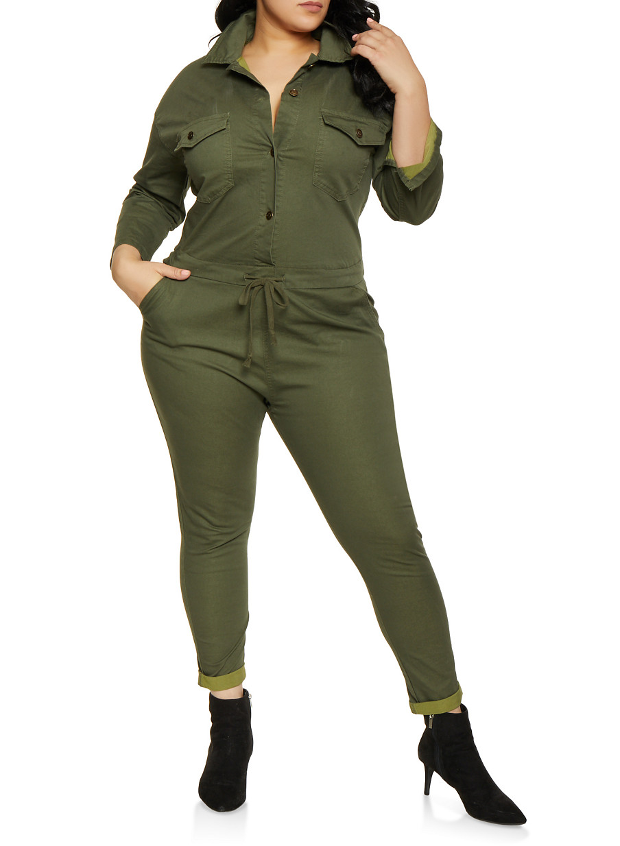 657f13e8f67 Plus Size Collared Button Front Jumpsuit