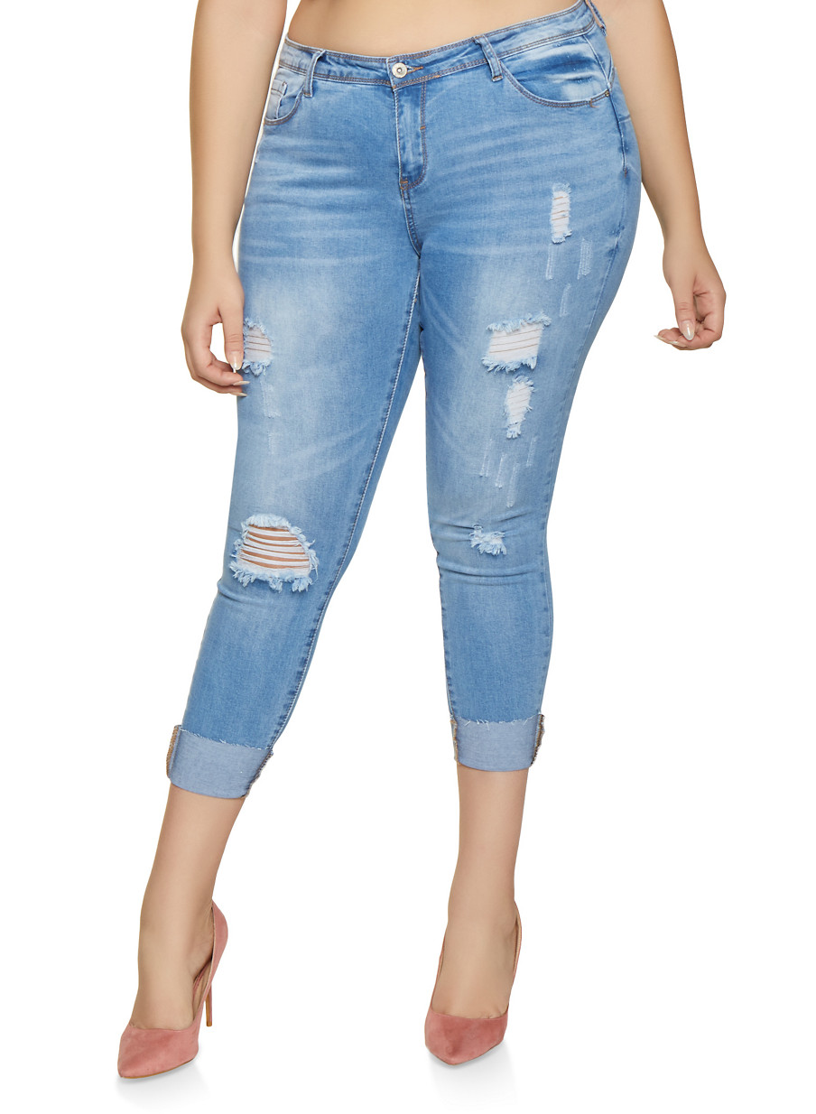 0408924a24d Plus Size WAX Distressed Push Up Skinny Jeans - Rainbow