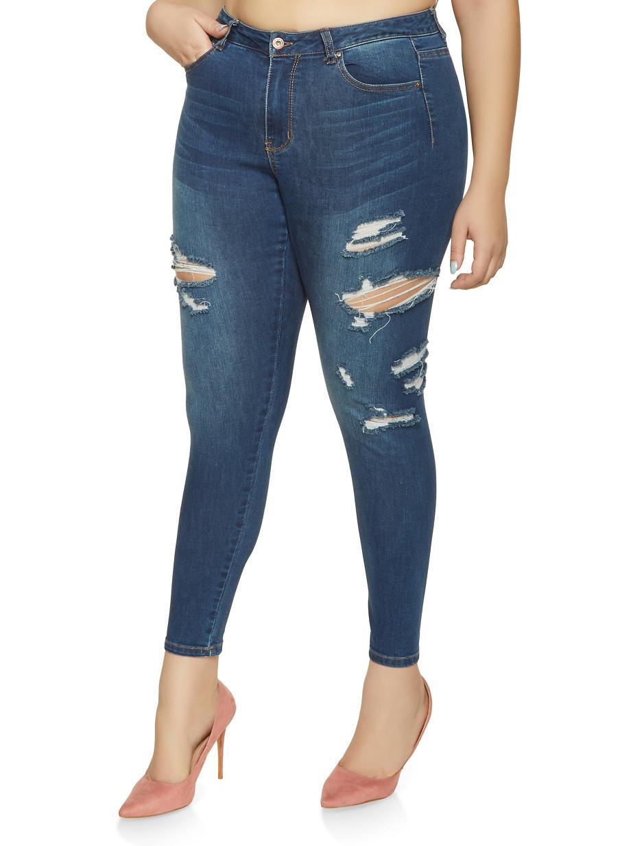 f8b0af653d4 Plus Size WAX Skinny Jeans - Rainbow