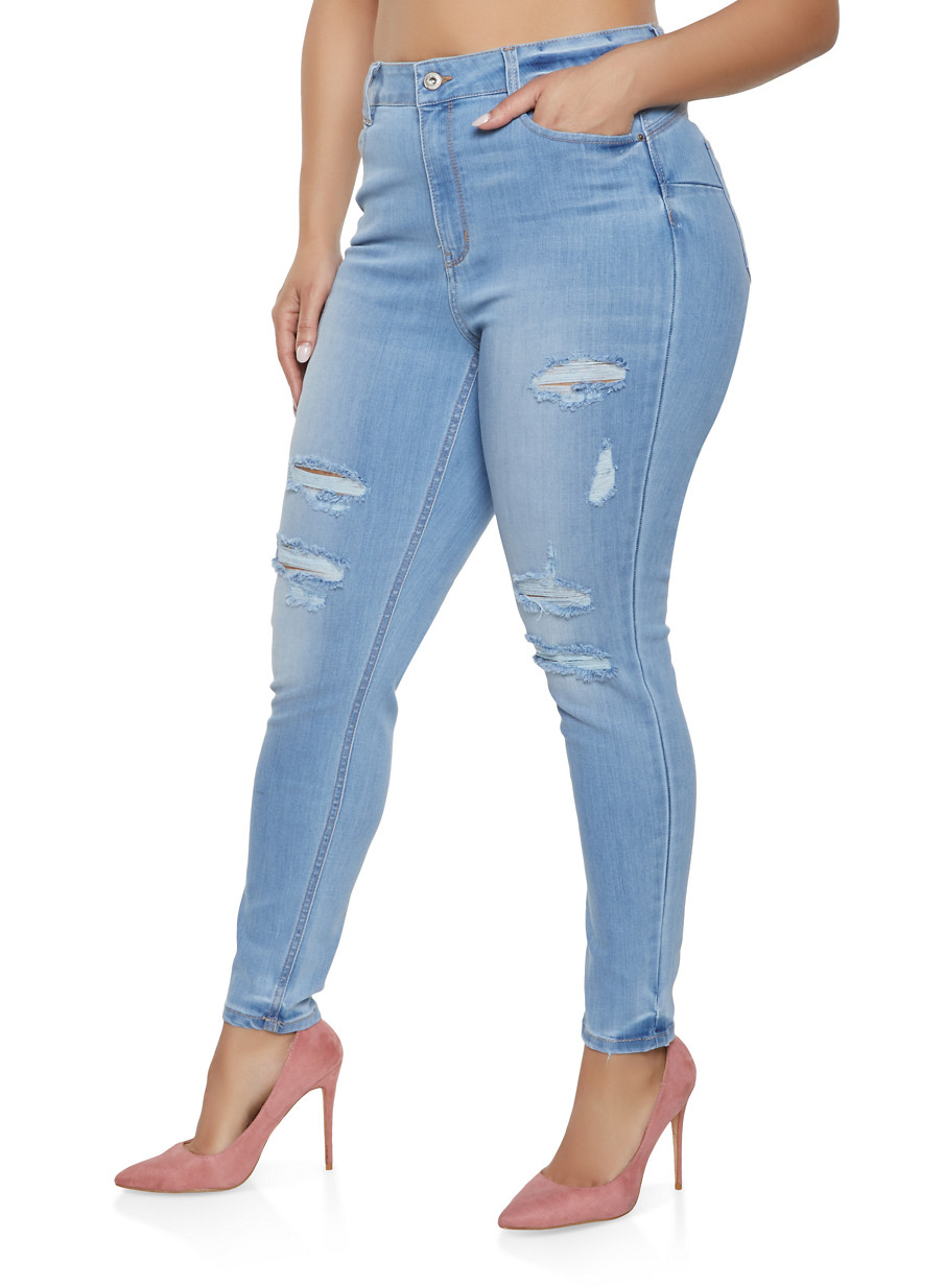 afd045ed055 Plus Size WAX Destroyed High Waisted Jeans - Rainbow