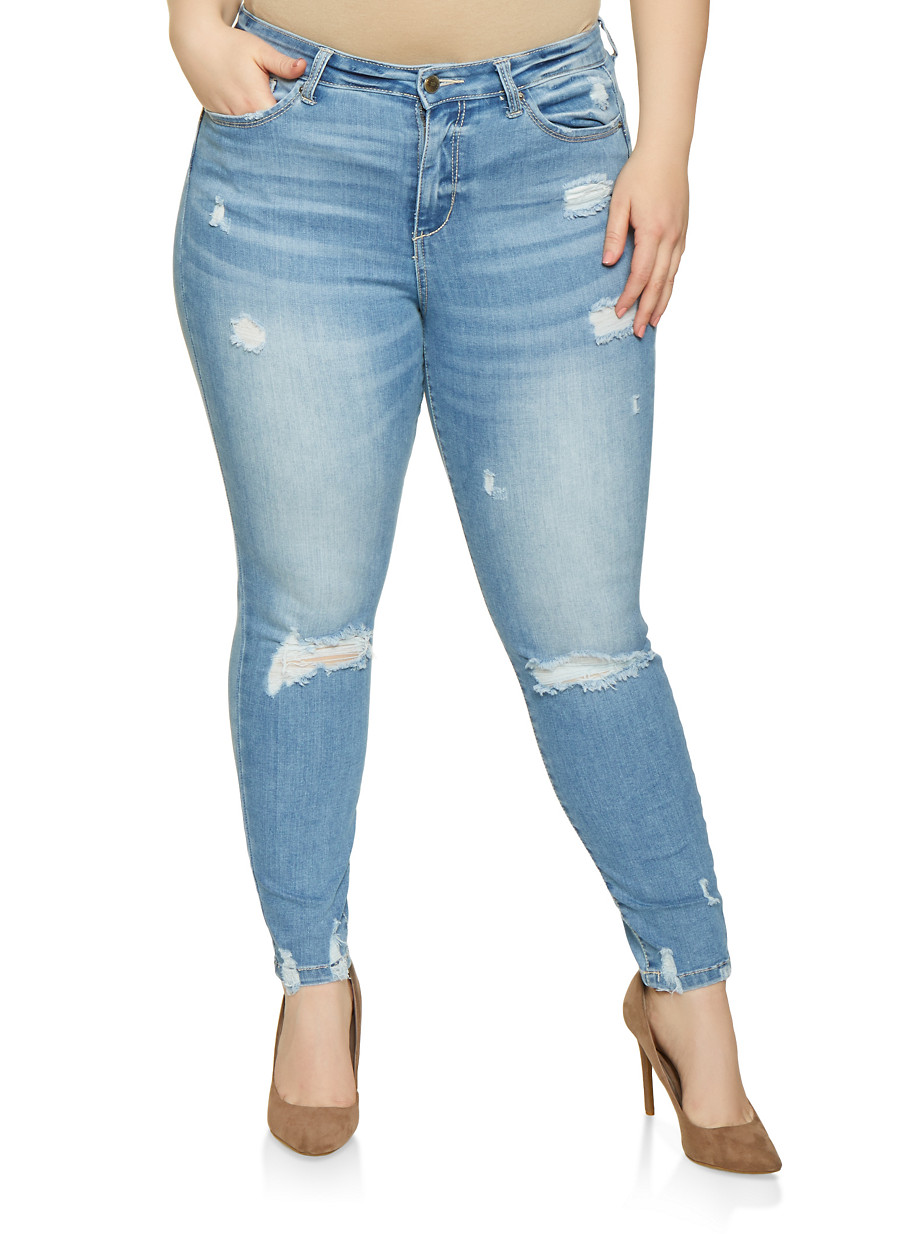7d6be4e111eca Plus Size WAX Distressed High Waisted Jeans - Rainbow