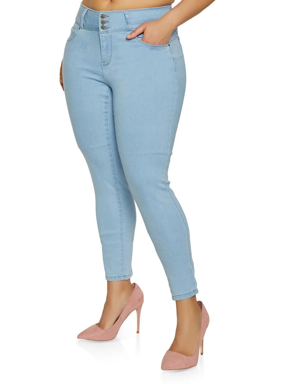 db6204cb051 Plus Size WAX 3 Button Skinny Jeans - Rainbow