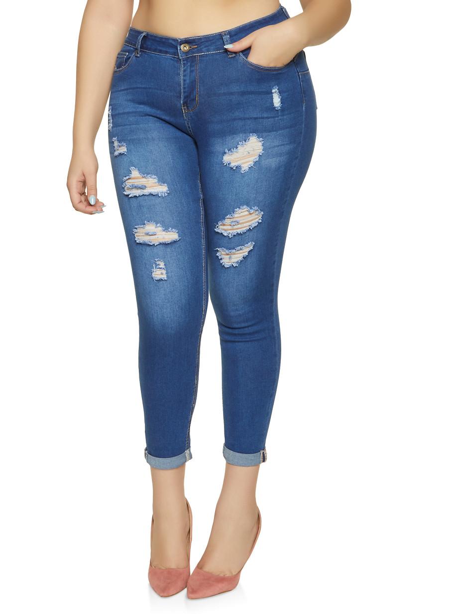 df236dbe870 Plus Size WAX Distressed Fixed Cuff Push Up Jeans - Rainbow