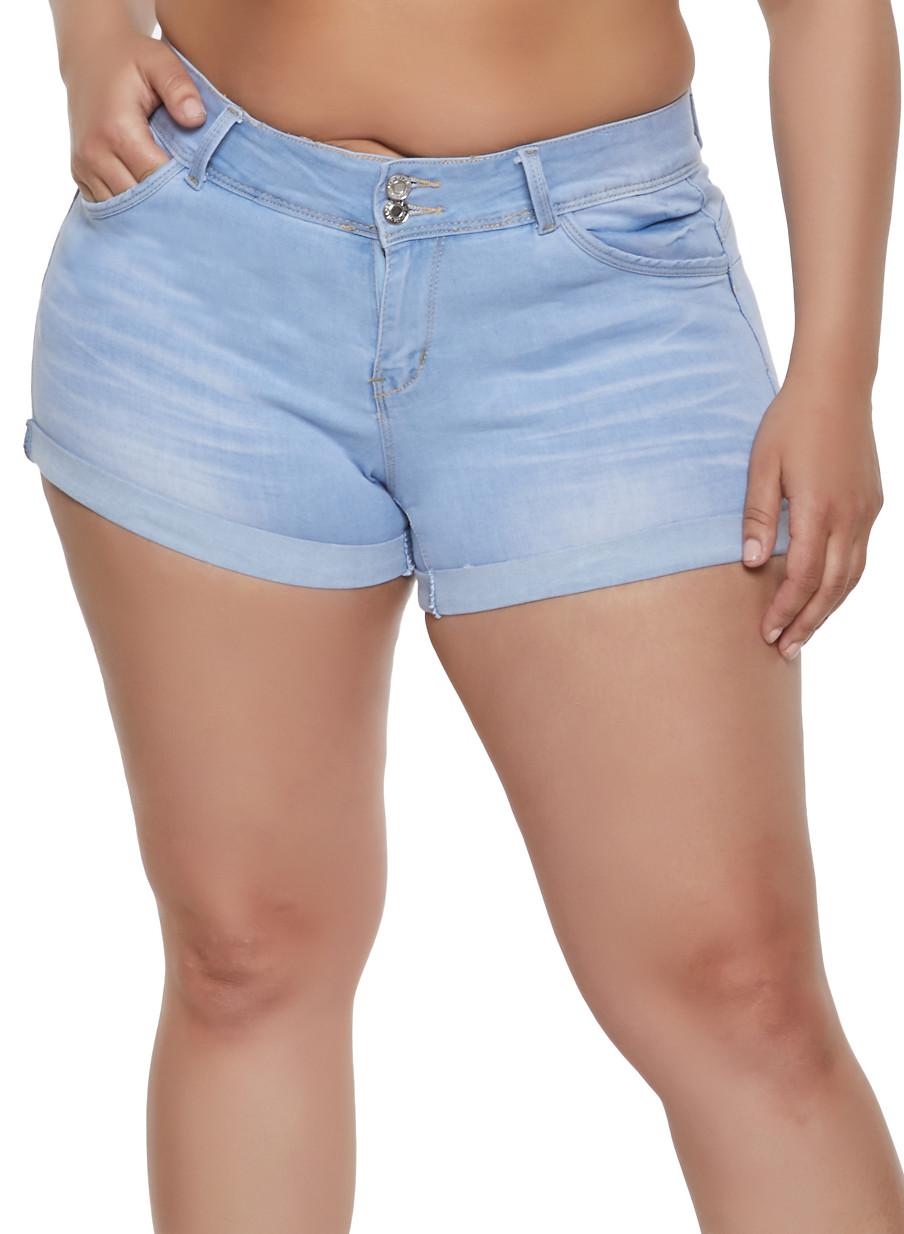 6fa46d690cf Plus Size WAX Rolled Cuff Denim Shorts - Rainbow