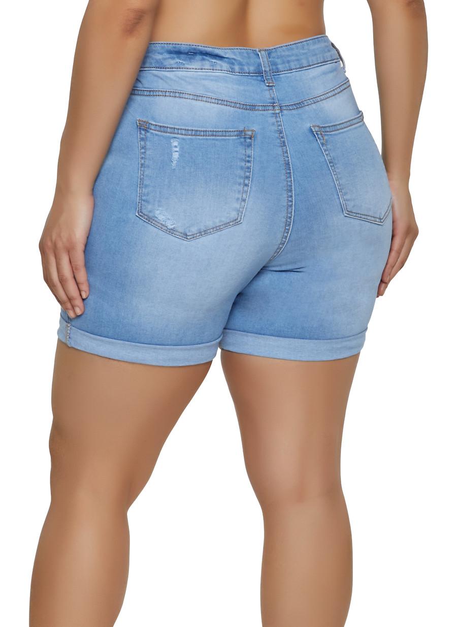 afb081f5b8 Plus Size WAX Fixed Cuff Bermuda Jean Shorts - Rainbow