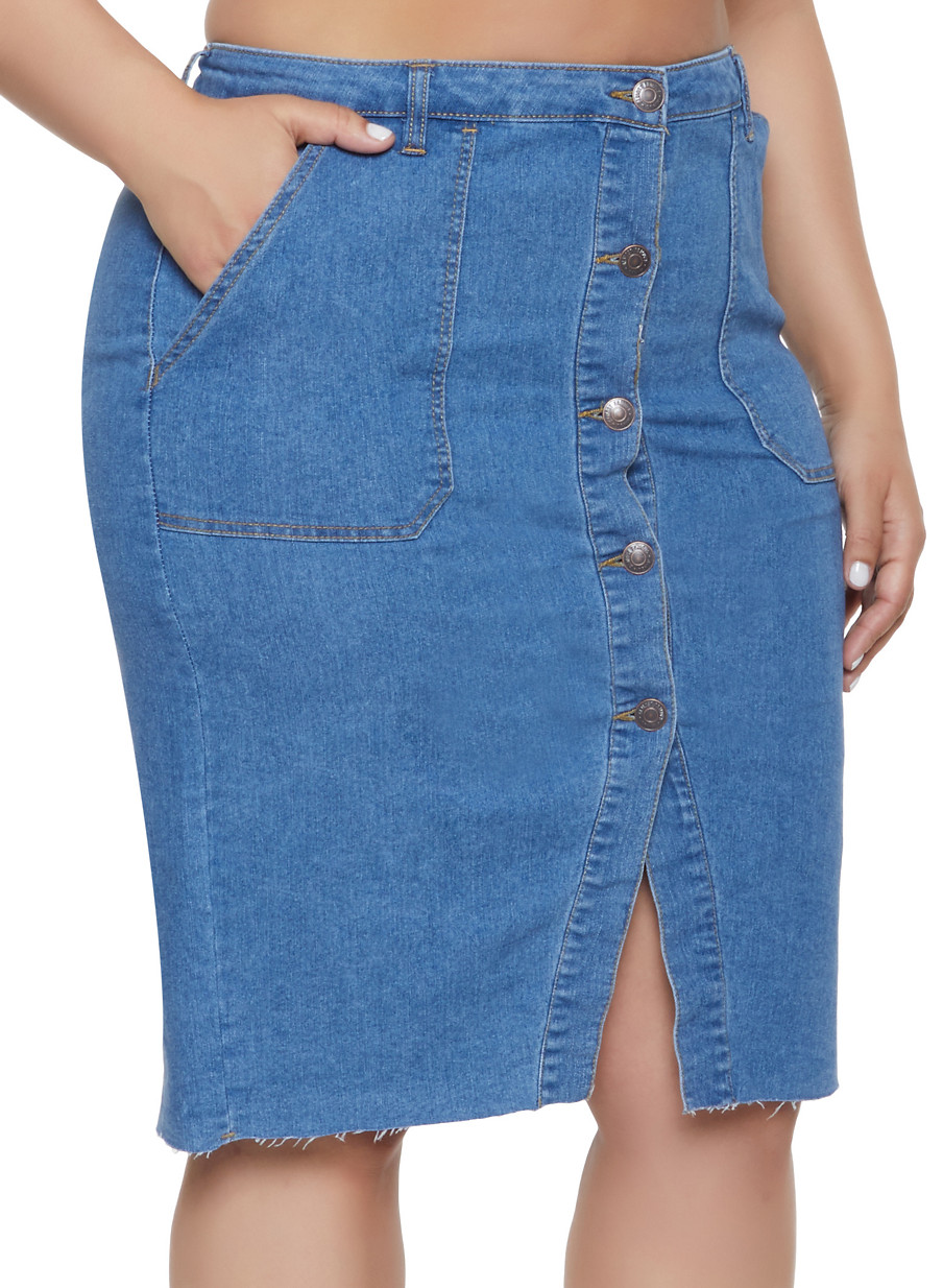 41fc22a53f Plus Size Almost Famous High Waisted Denim Skirt - Rainbow