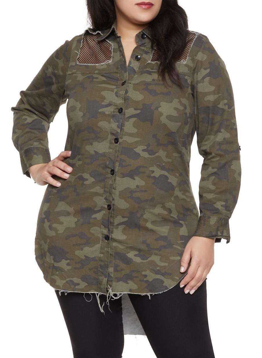 81405918e2c Plus Size Distressed Camo Shirt - Rainbow