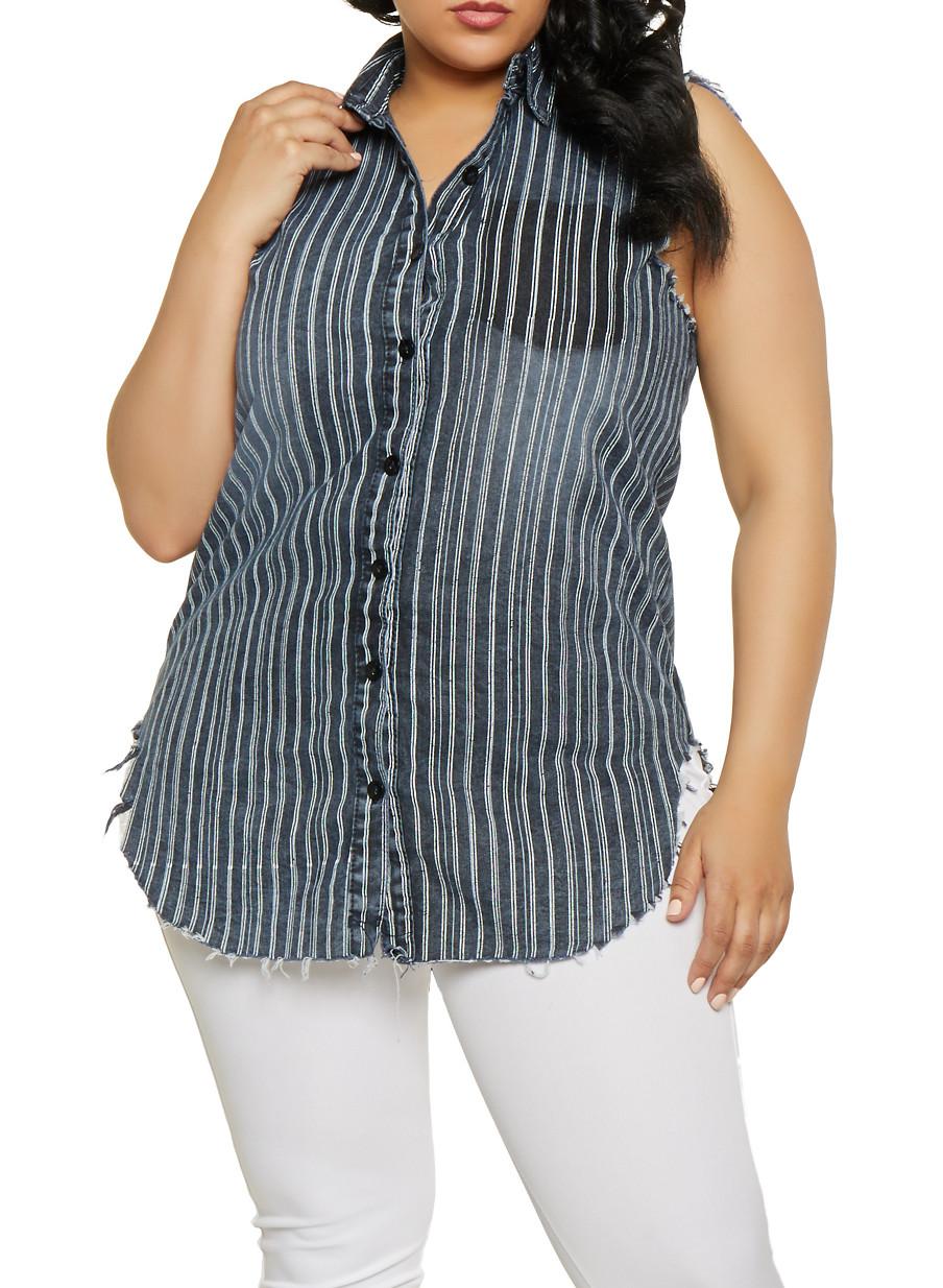e94018ffbc Plus Size Striped Denim Shirt - Rainbow