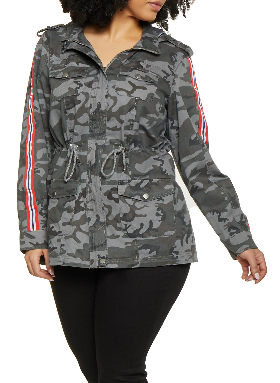 379a550c85a Plus Size Camo Striped Tape Anorak Jacket - Rainbow