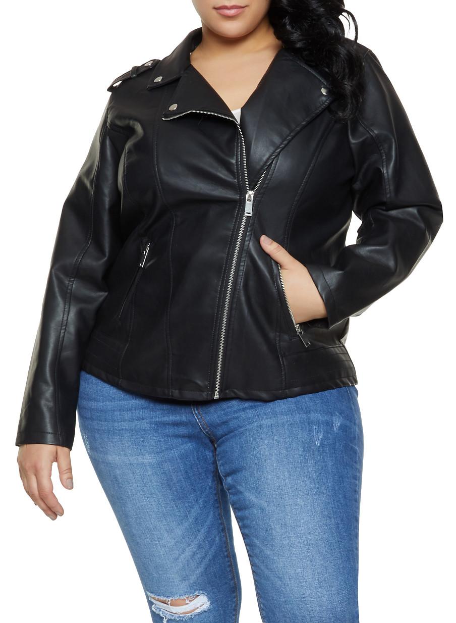 3ef6910f391 Plus Size Faux Leather Moto Jacket