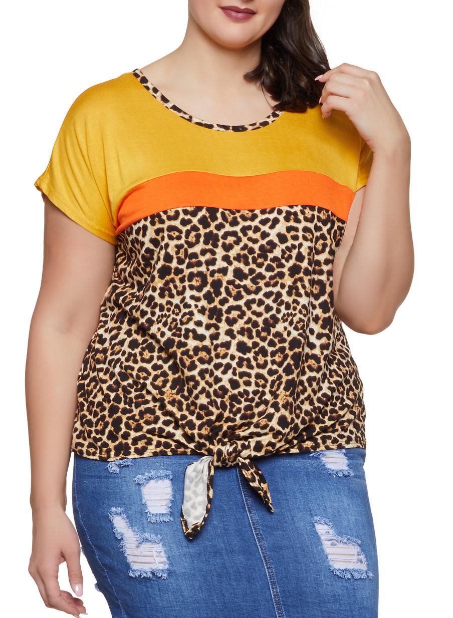 4177d59cb19c0 Plus Size Color Block Leopard Print Tee - Rainbow
