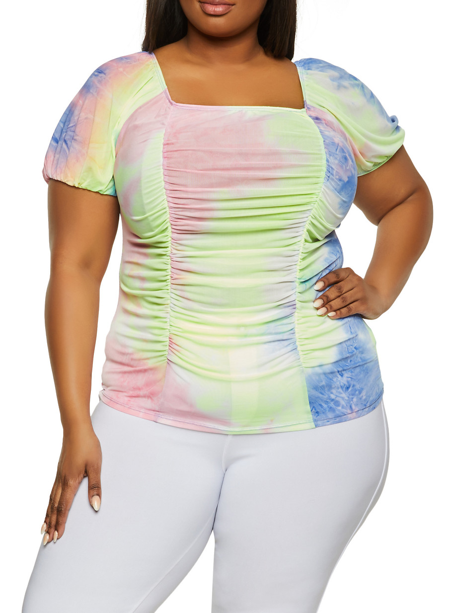 Vocal Plus Size Tribal Tie Dye Ombre Stretchy Ribbed Black Shirt Top  2X