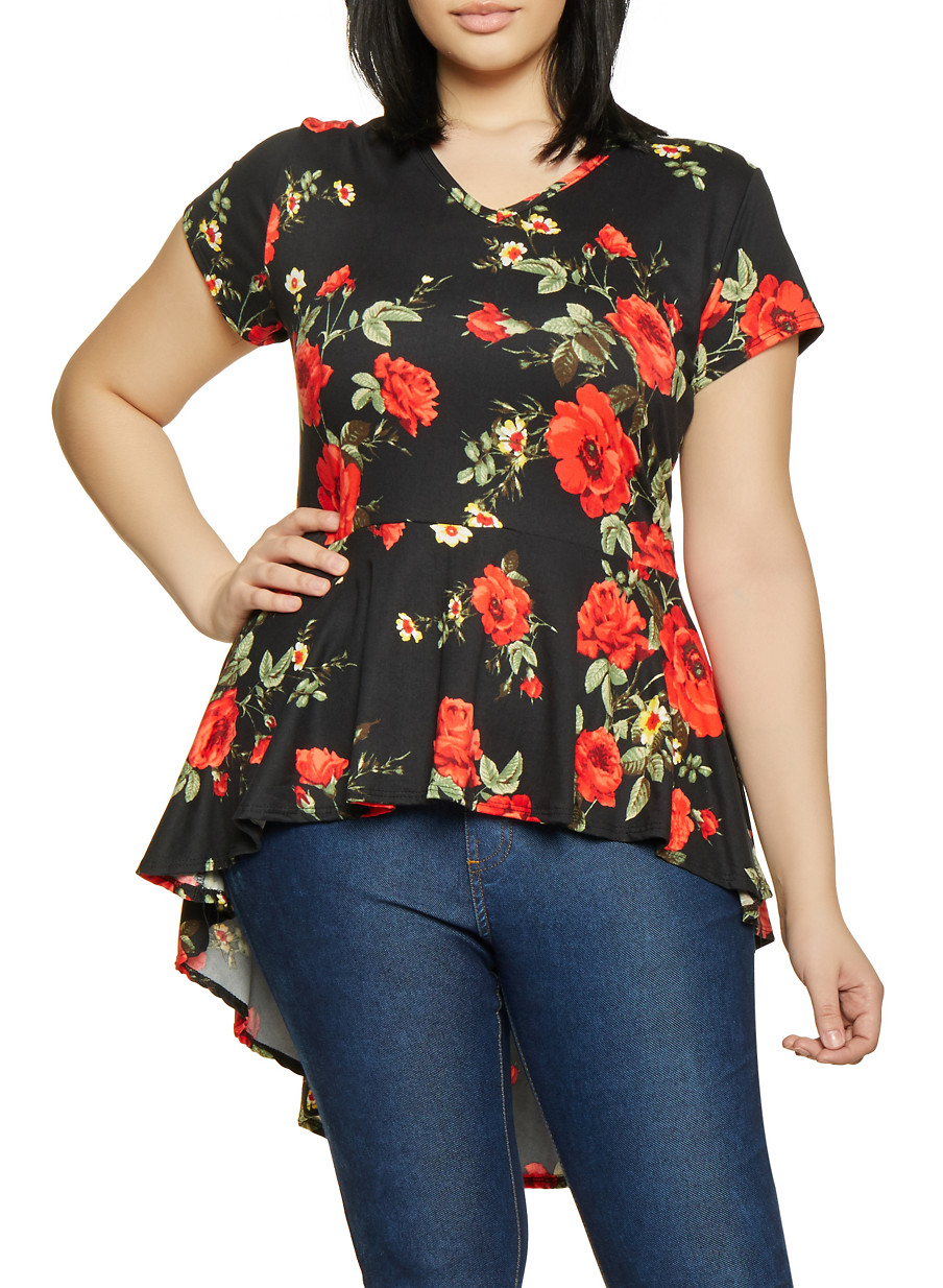 caace62fb38 Plus Size Floral Ruffle High Low Top - Rainbow