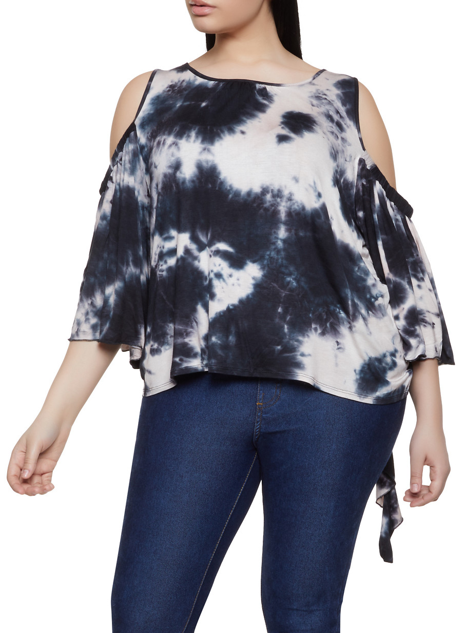 3f46eac08f3ec4 Plus Size Cold Shoulder Tie Dye Top - Rainbow