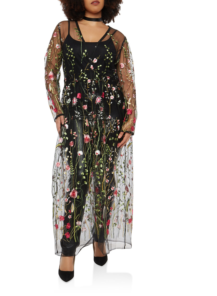 Plus Size Embroidered Mesh Maxi Top Rainbow