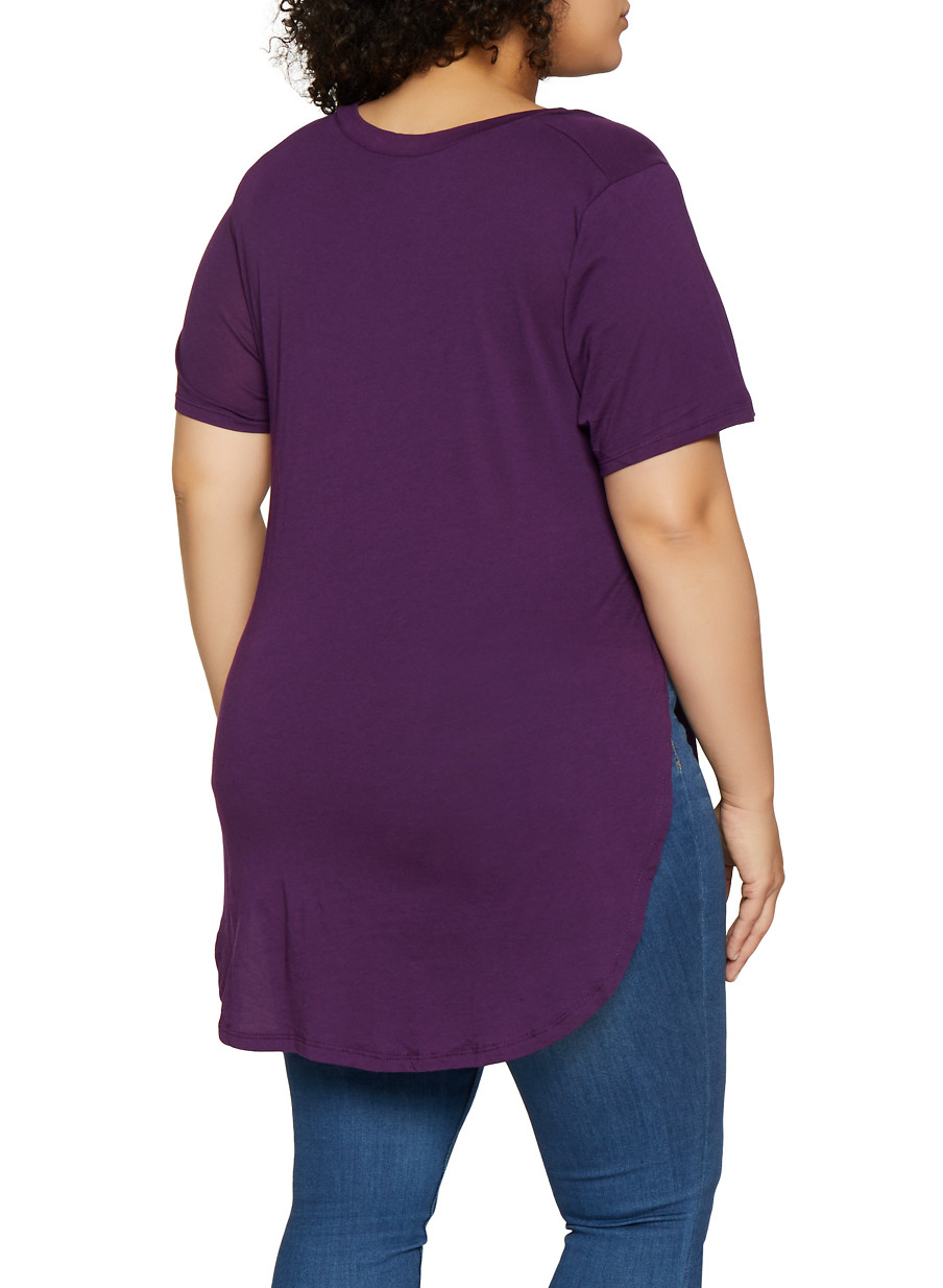 66396b3ba2a Plus Size Solid High Low Tee - Rainbow
