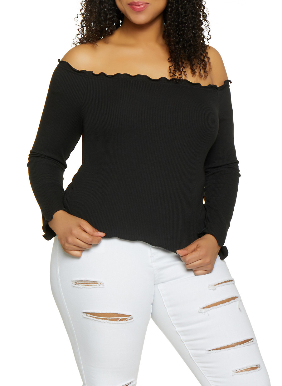 95267903344 Plus Size Lettuce Edge Ribbed Off the Shoulder Top - Rainbow