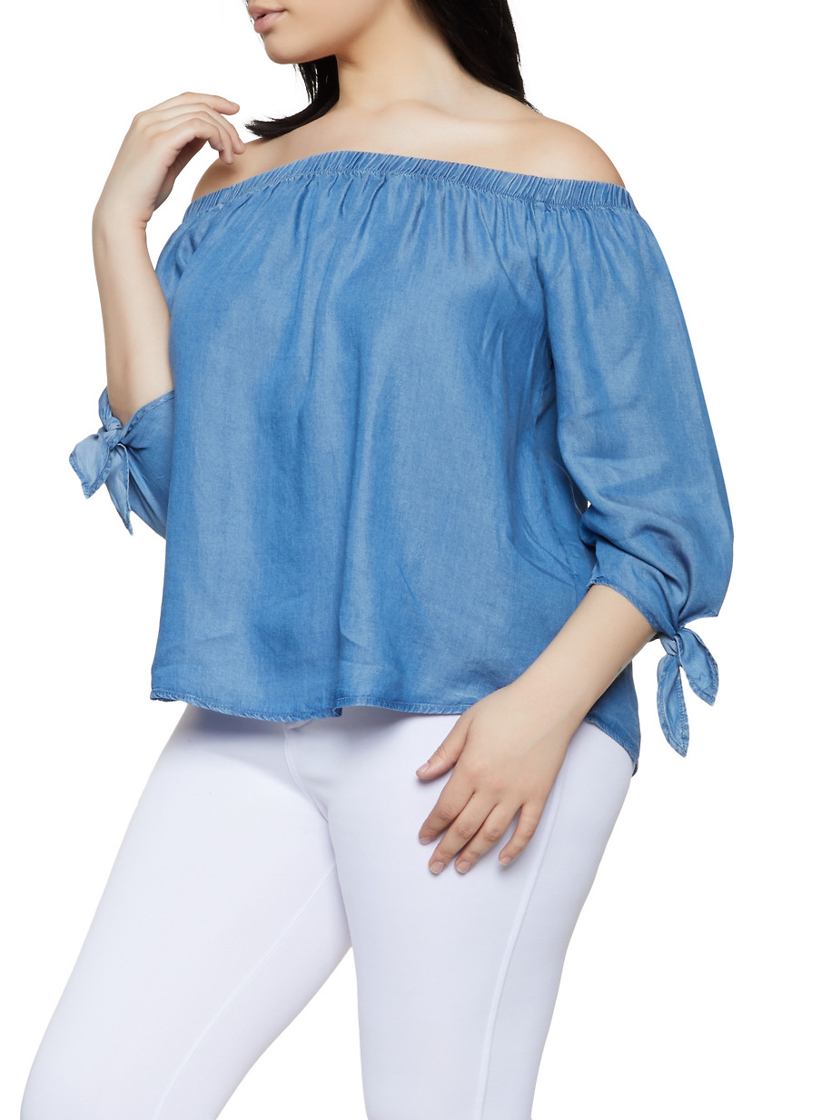 28aac928cccce7 Plus Size Tie Sleeve Off the Shoulder Chambray Top - Rainbow