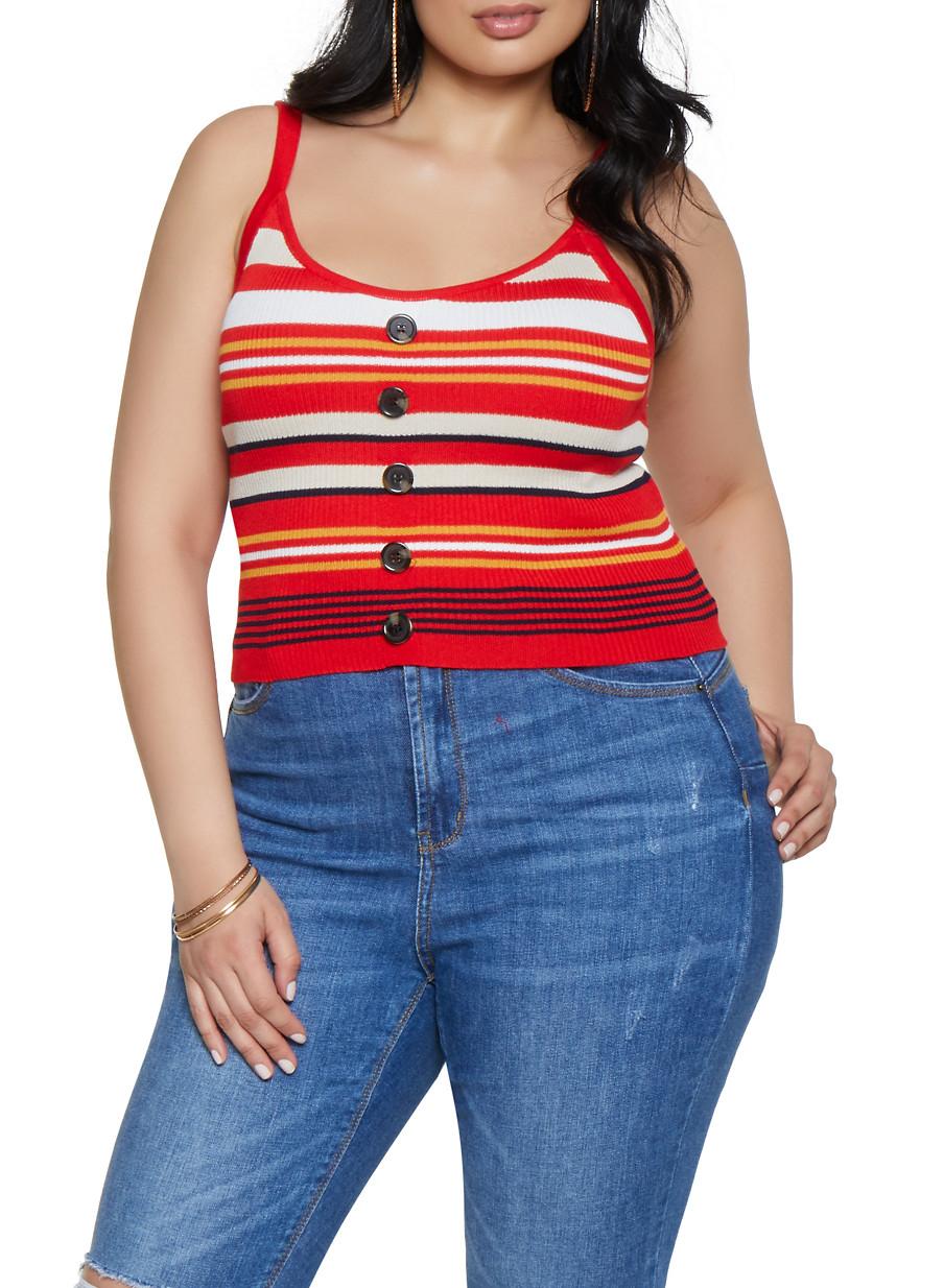 dc9822c41b8 Plus Size Rib Knit Button Front Tank Top - Rainbow