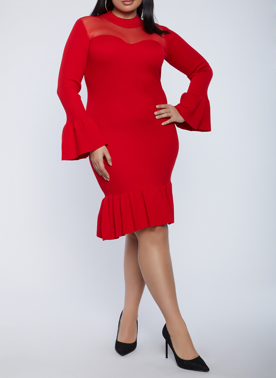 Plus Size Bell Sleeve Sweater Dress