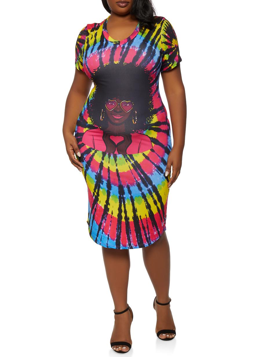 Plus Size Face Graphic Tie Dye T Shirt Dress