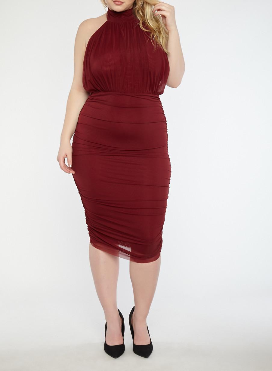 Plus Size Ruched Mesh Midi Dress Rainbow