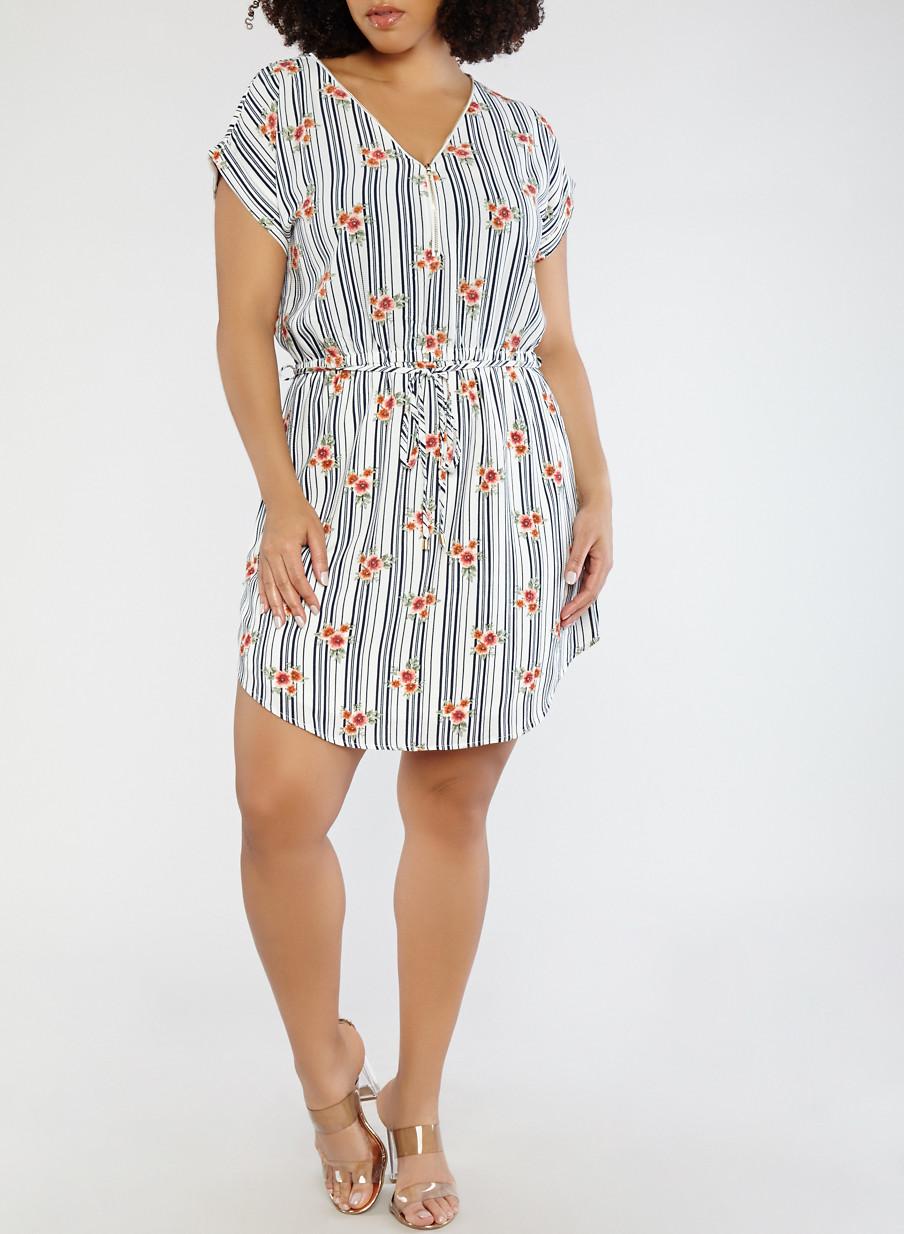 Plus Size Printed Zip Front Dress Rainbow