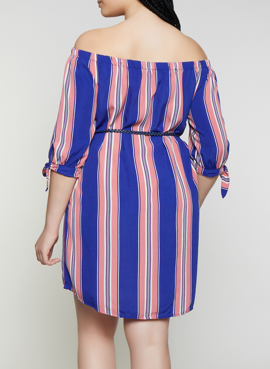 4bcbb00636 Plus Size Striped Off the Shoulder Dress with Braided Belt - Rainbow
