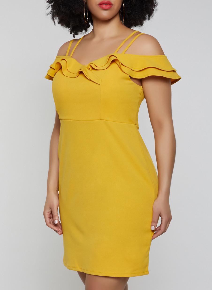 Plus Size Ruffle Off the Shoulder Dress - Rainbow
