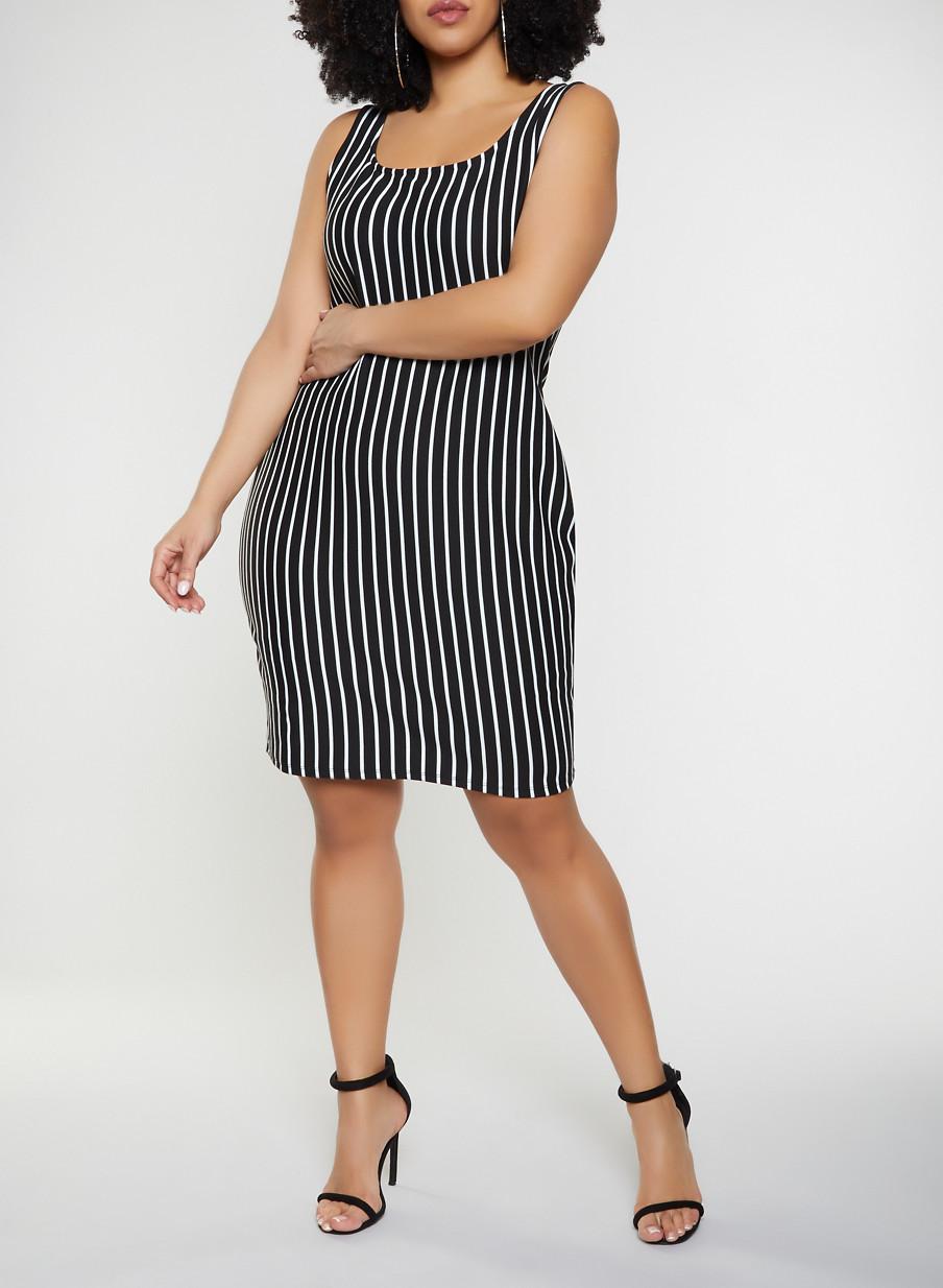 579ecb0d05f Plus Size Vertical Stripe Tank Dress - Rainbow