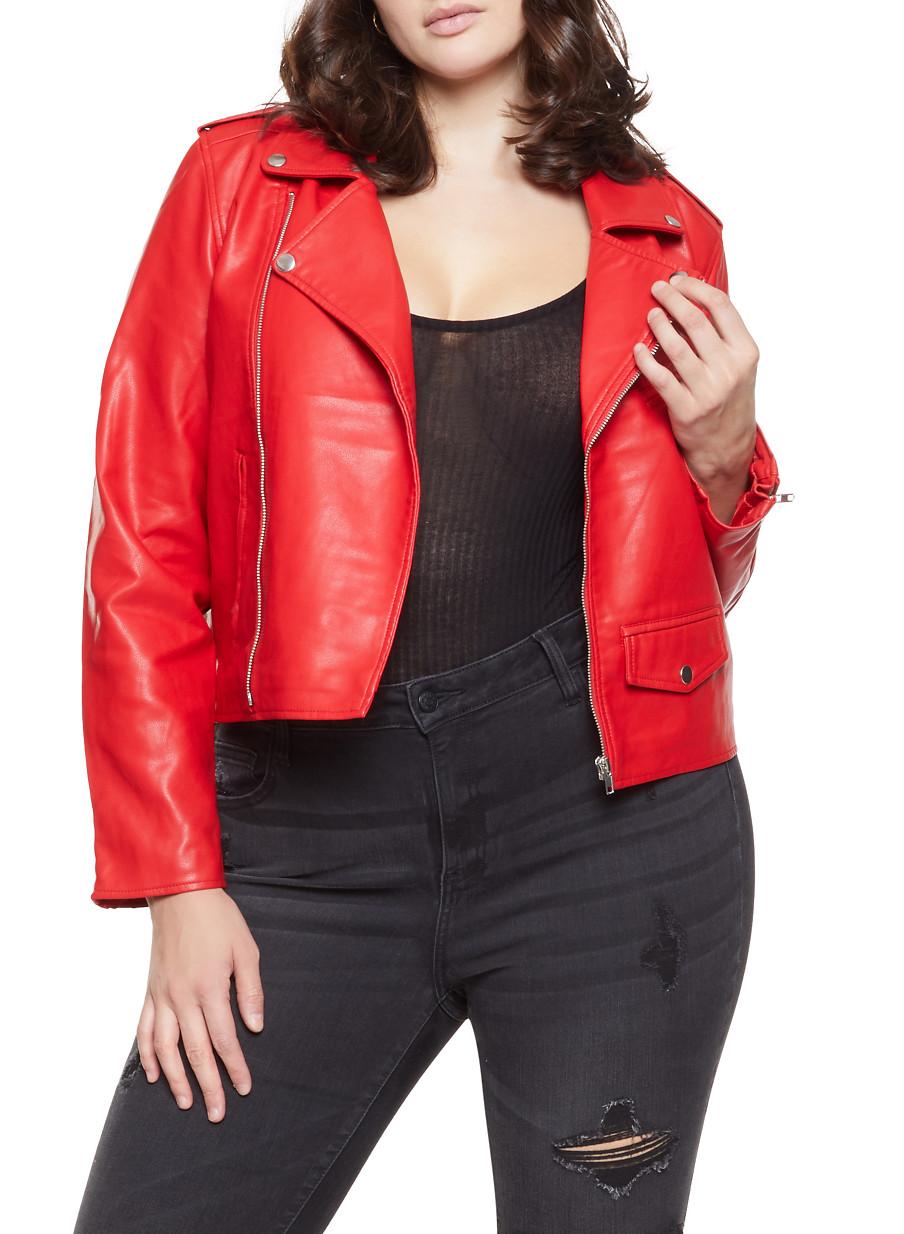 2a4b48a826d Plus Size Faux Leather Zip Sleeve Moto Jacket - Rainbow