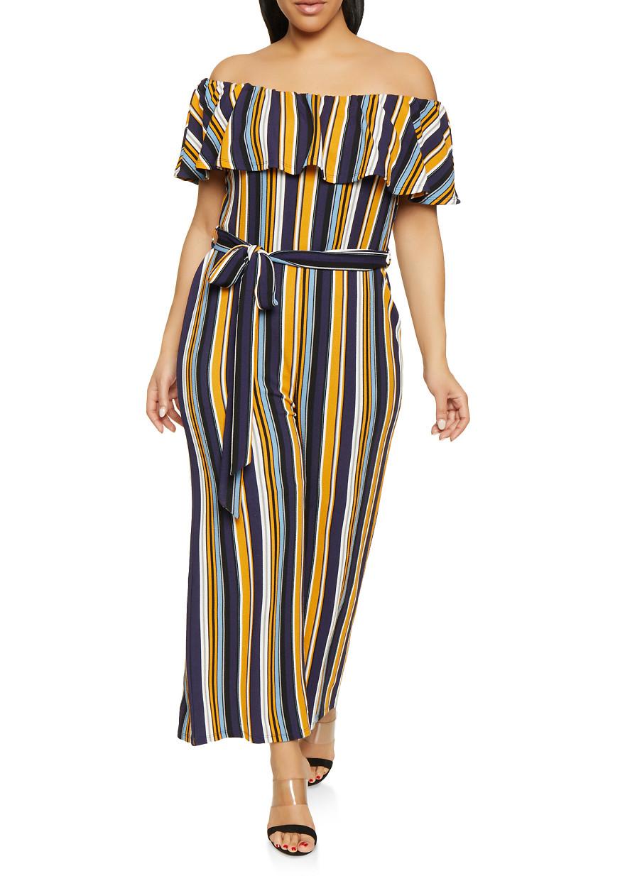 0d2df0ba155 Plus Size Striped Off the Shoulder Jumpsuit - Rainbow