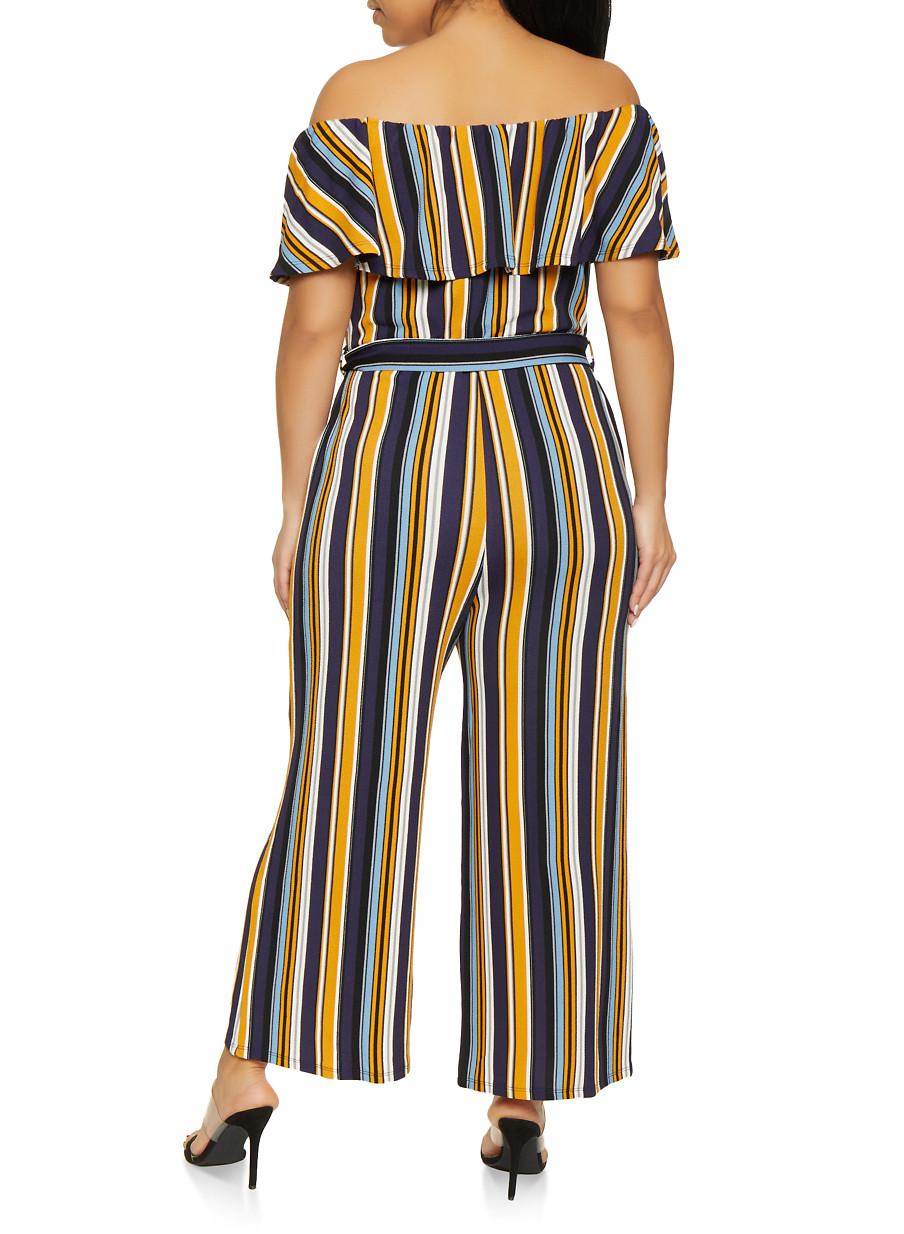 b4512631c41 Plus Size Striped Off the Shoulder Jumpsuit - Rainbow