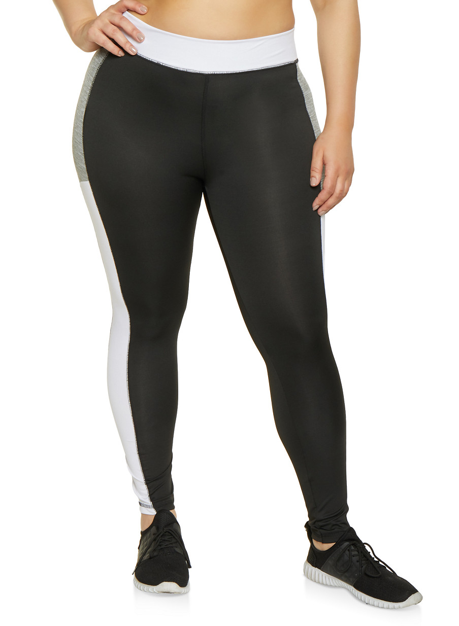 38247ac95f9497 Plus Size Color Block Activewear Leggings | 1951038341748 - Rainbow