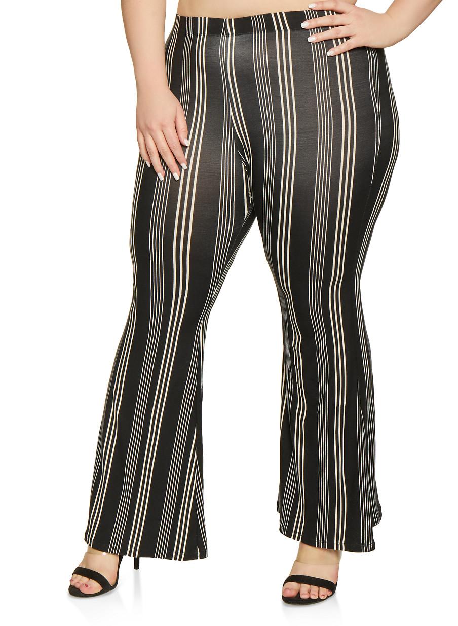 2b98cd0e6f4c03 Plus Size Soft Knit Striped Flared Pants - Rainbow