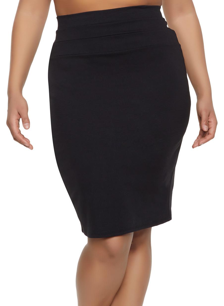 4e33a97872 Plus Size High Waisted Midi Skirt - Rainbow