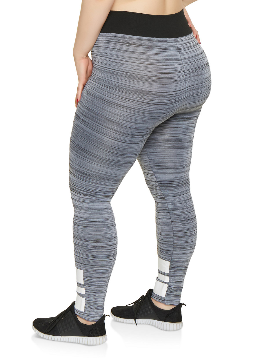 13ad2557729 Plus Size Marled Striped Detail Leggings - Rainbow