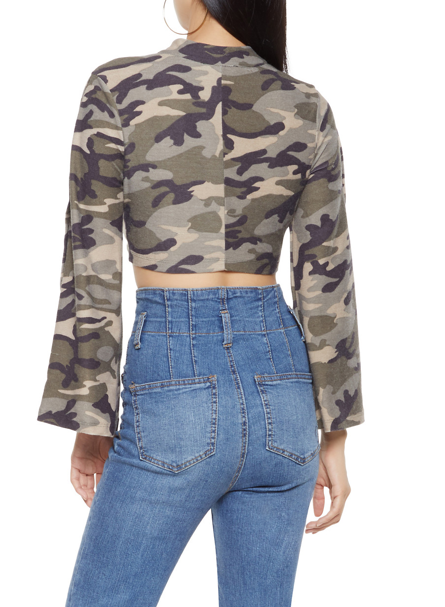 c4d64502 Flyaway Sleeve Camo Crop Top - Rainbow