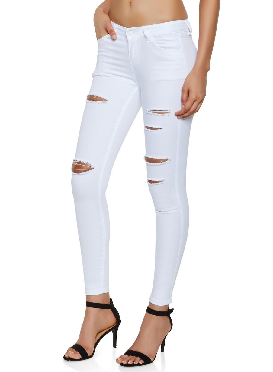 ab8f193d6db WAX Distressed White Skinny Jeans - Rainbow