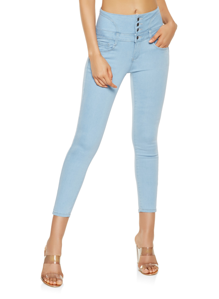 wax lace up push up jeans rainbow