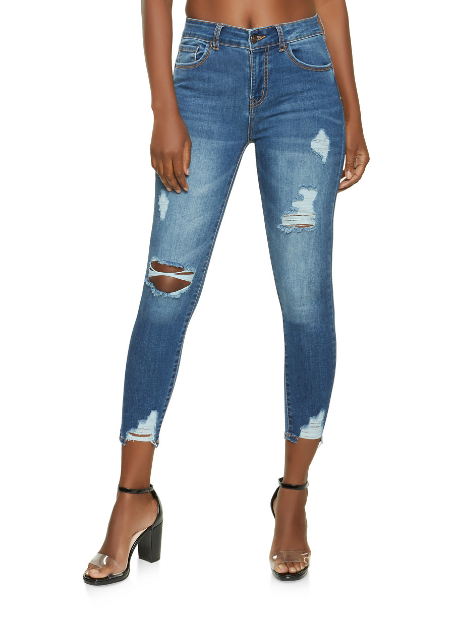 WAX Distressed Cropped Skinny Jeans