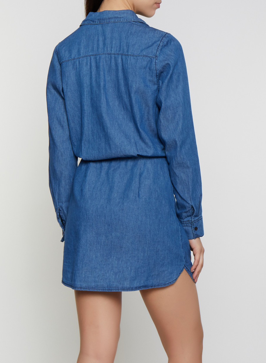 5b8e48a0508 Highway Tie Front Denim Shirt Dress - Rainbow