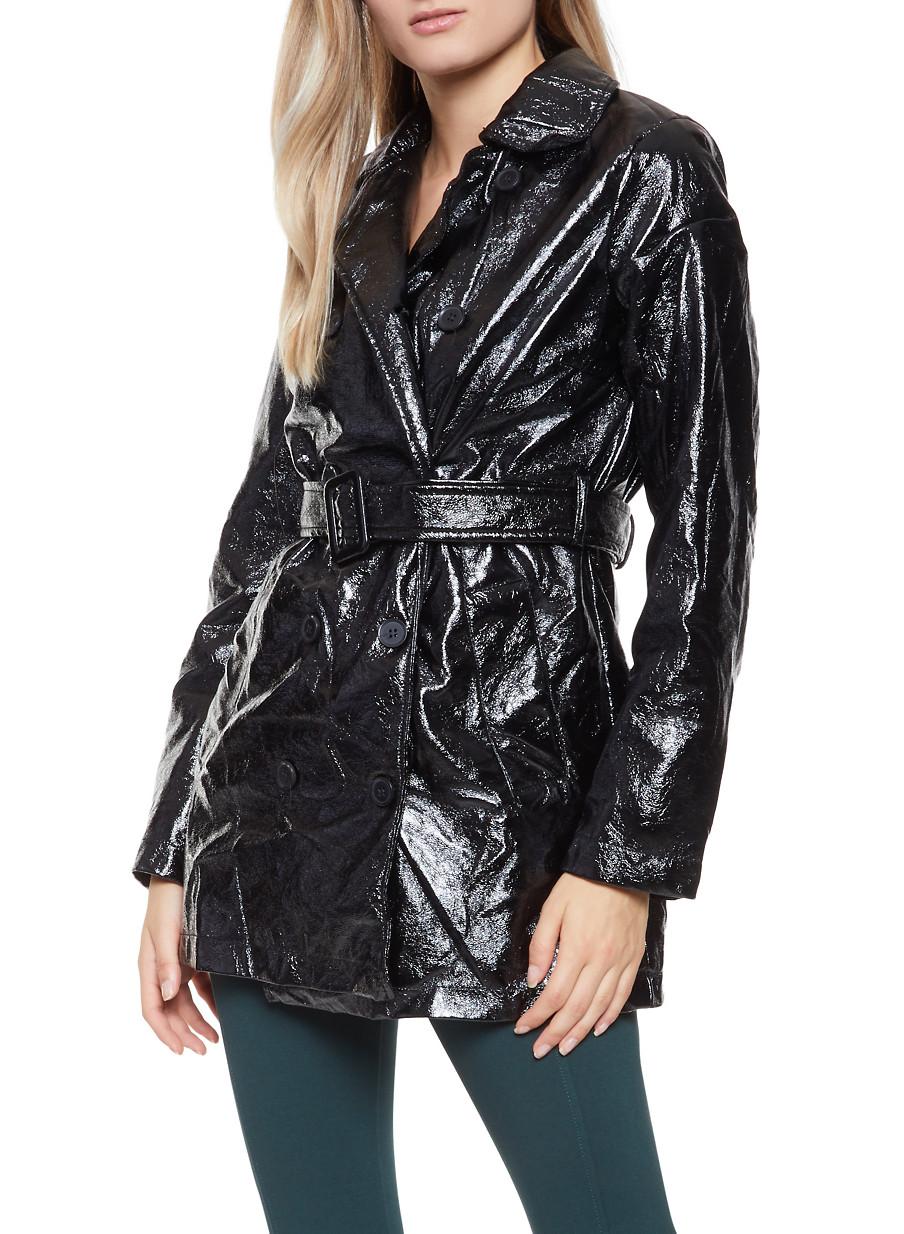 a3e33d7d9ec2 Faux Patent Leather Trench Coat - Rainbow