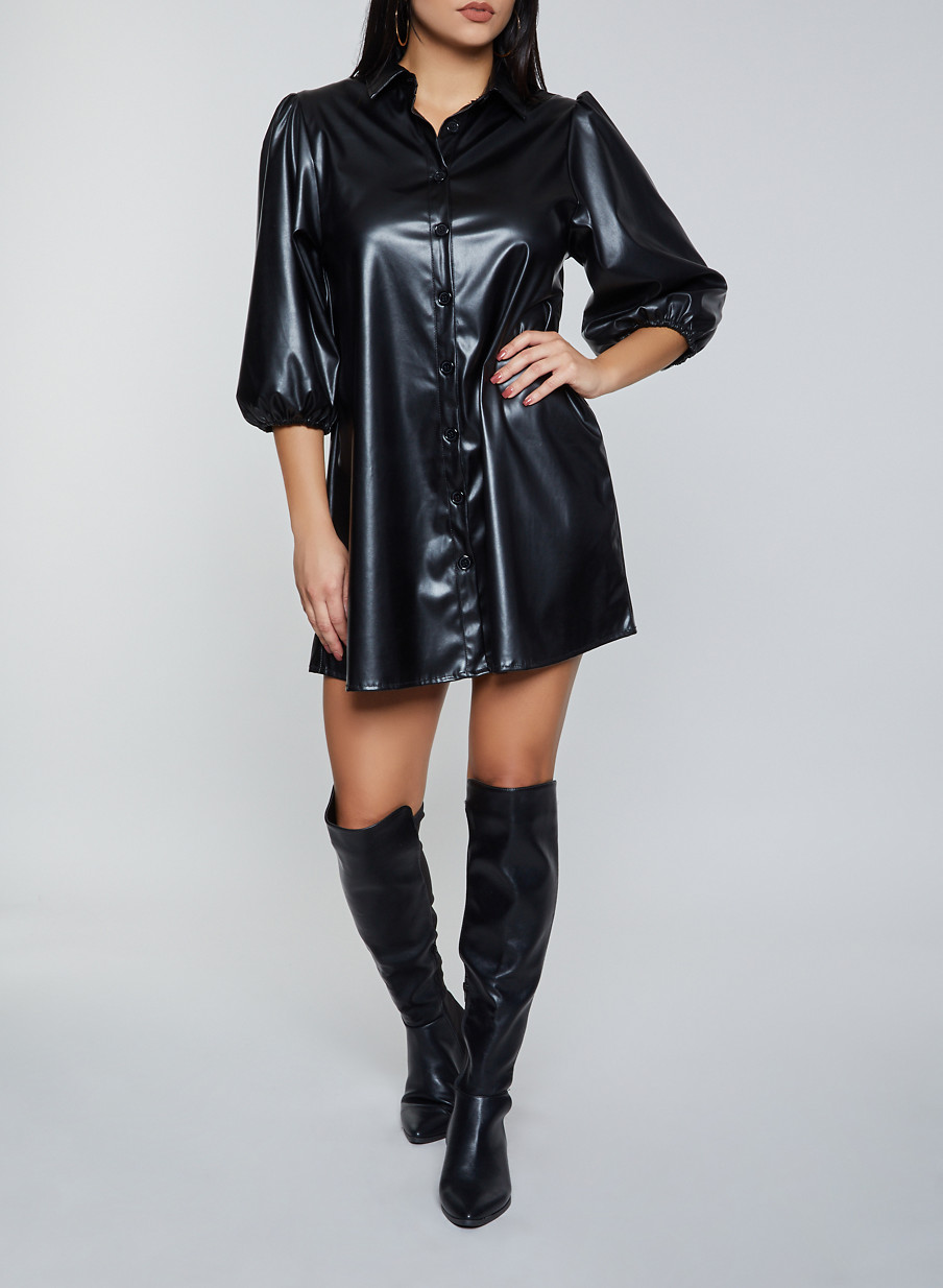 Bubble Sleeve Faux Leather Shirt Dress