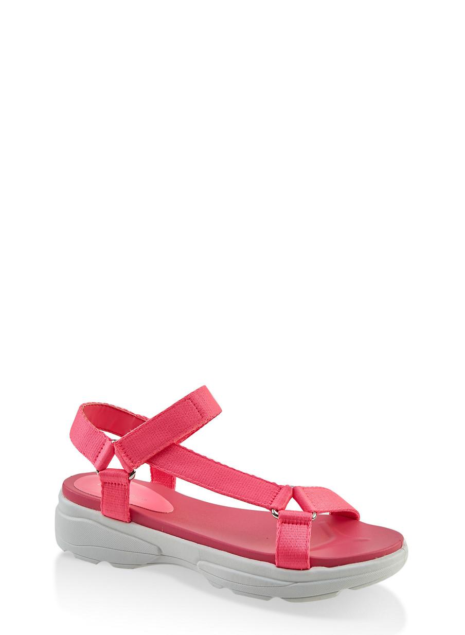 Velcro Ankle Strap Sporty Sandals - Rainbow
