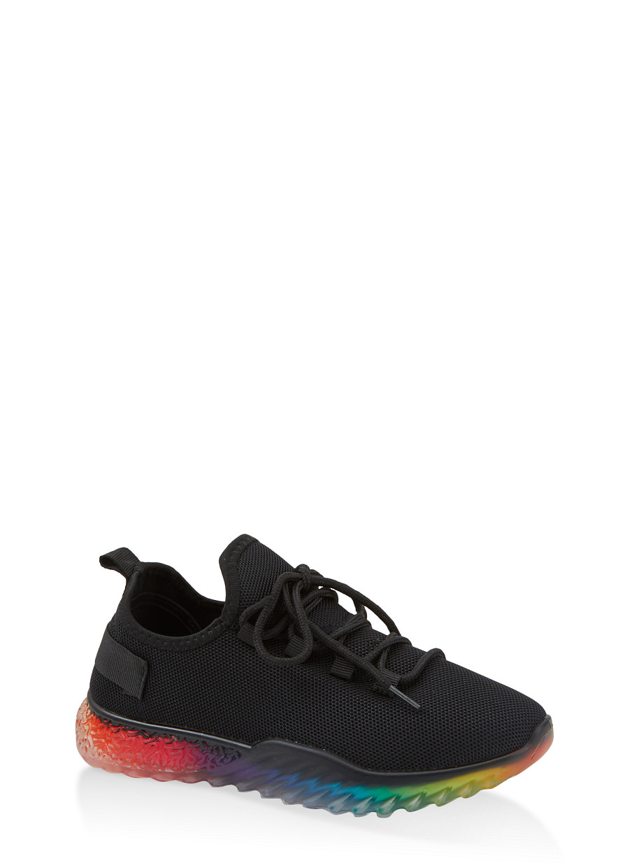 Rainbow Sole Lace Up Sneakers