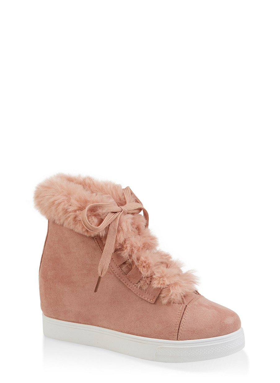 Faux Fur Collar Wedge Sneakers