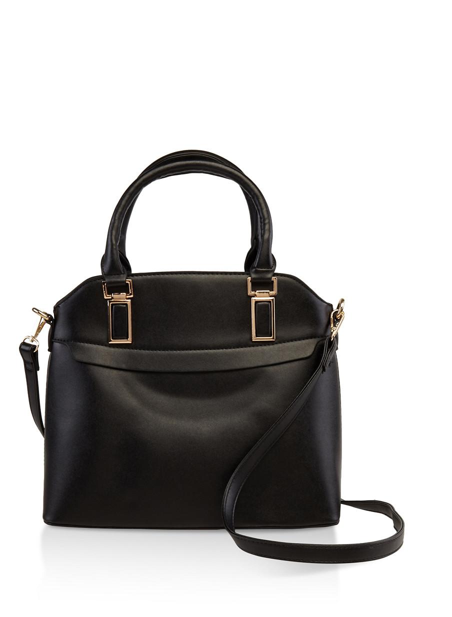 Metallic Detail Faux Leather Handbag Black Large