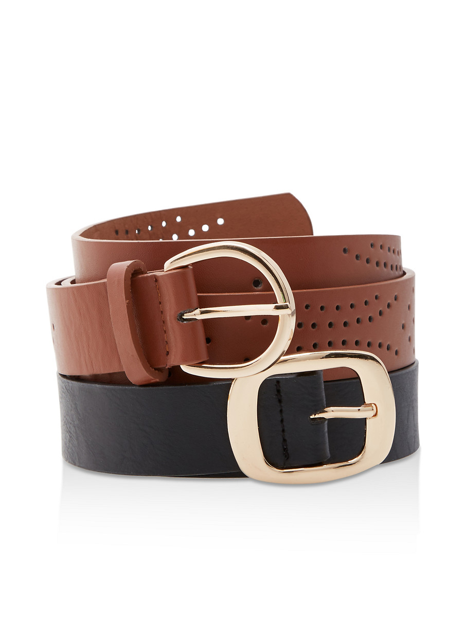 75079b0afe Set of 2 Perforated Faux Leather Belts - Rainbow