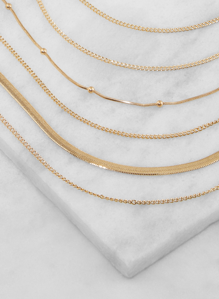 3b9fd048f Layered Flat Chain Necklace with Stud Earrings - Rainbow